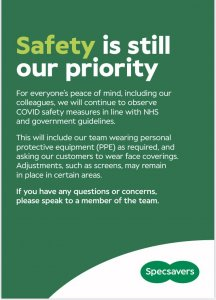 Safety is still a priority at Specsavers
